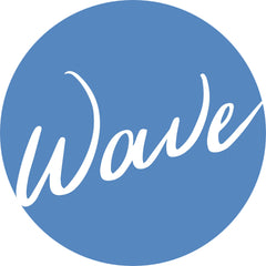 Wave written over a blue circle