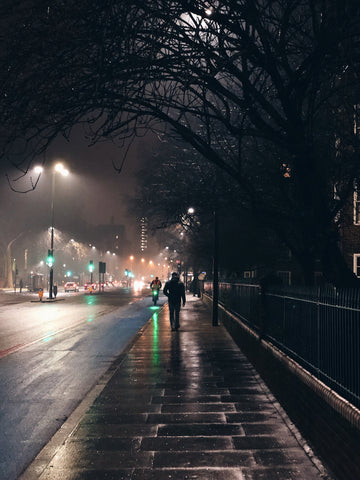 Cold and wet nght in the city