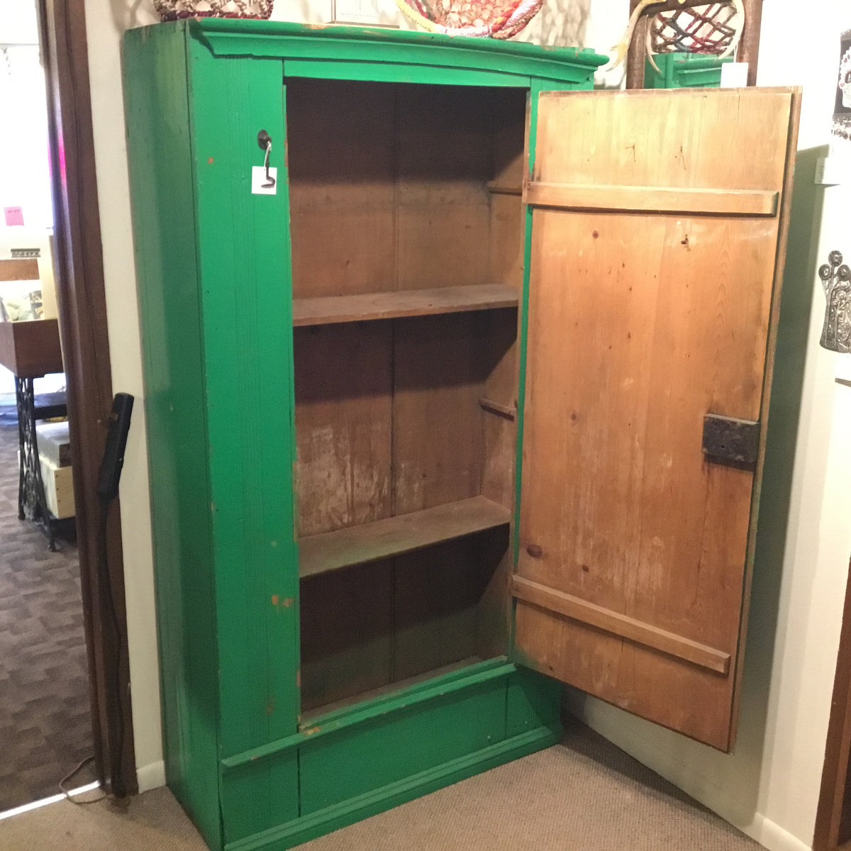 Vintage Bright Green Armoire