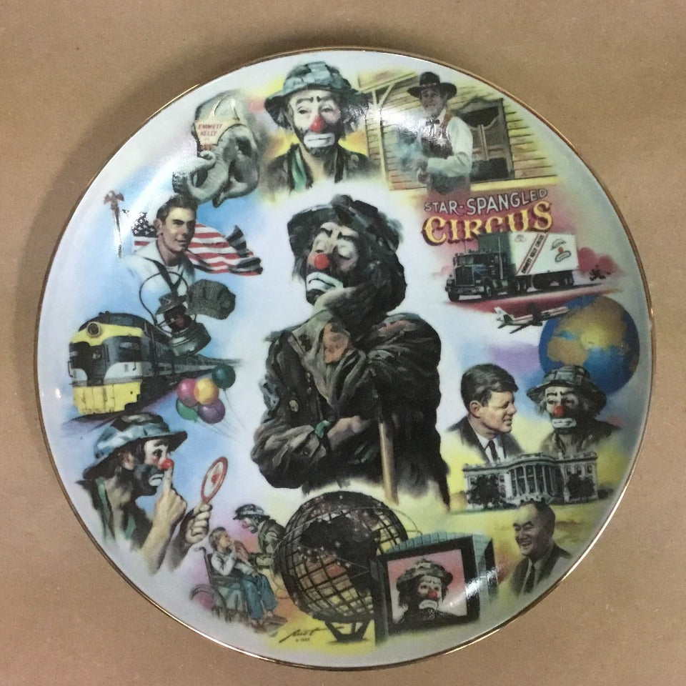 """Looking Back"" Collector Plate  Celebrating Emmett Kelly Jr, 65 Birthday"