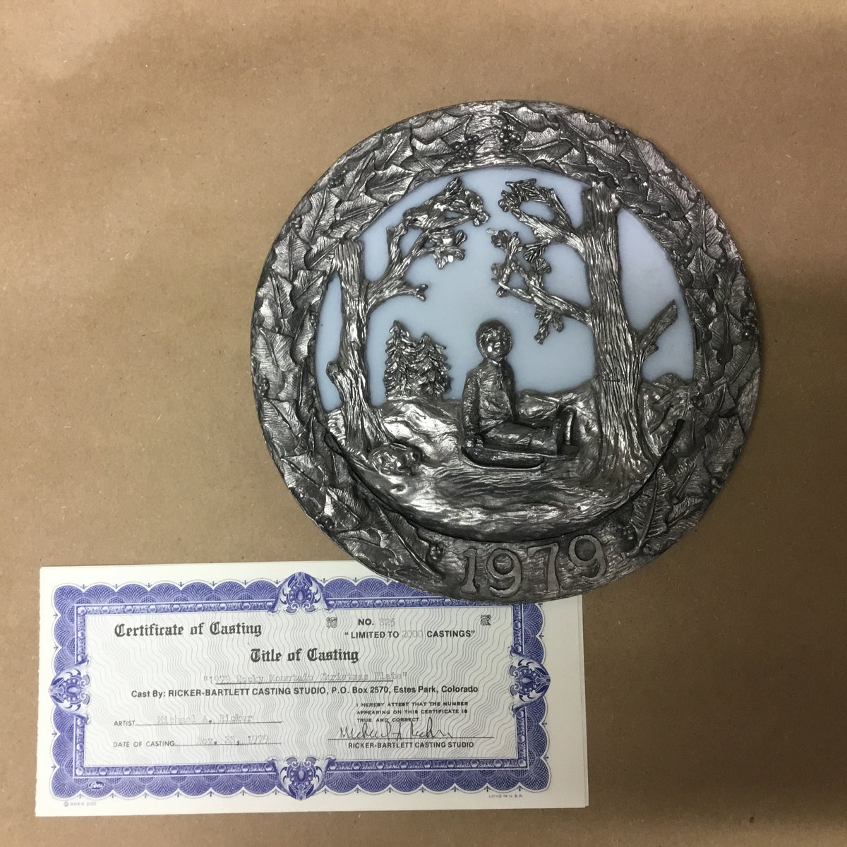 "Limited edition hand cast pewter ""Christmas"" series plates by Michael Anthony Ricker"