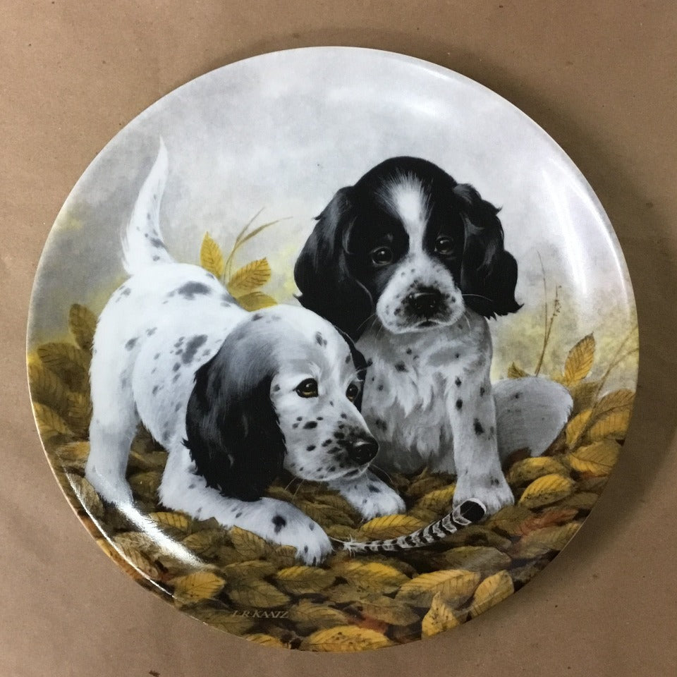 "Knowles Field Puppies Collection, 7th Issue titled ""Fine Feathered Friends - English Setters"""