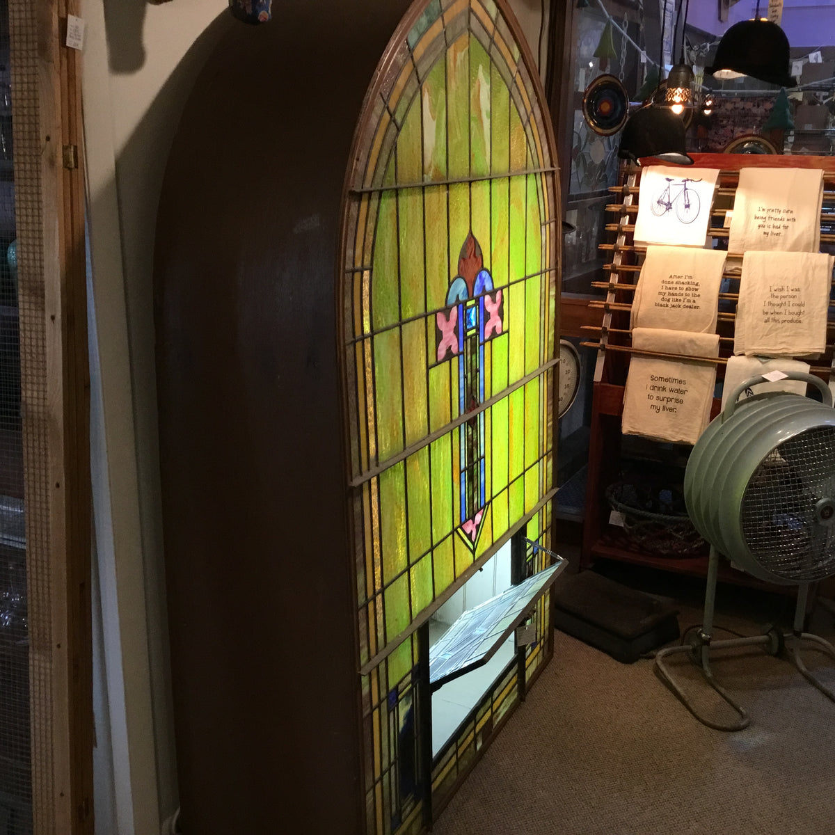 Large Stained Glass in a Lighted Window Box