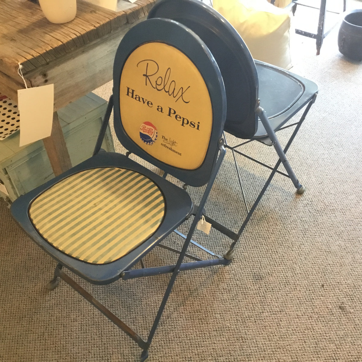 Rare 1950's Folding Pepsi Chair with Stripes