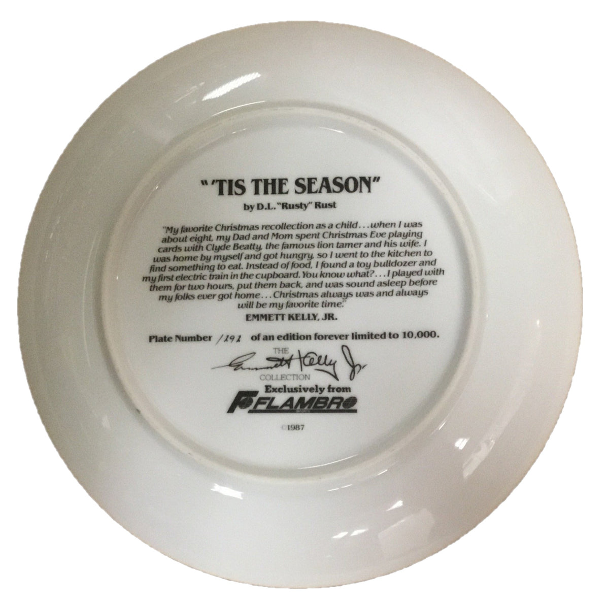 """Tis The Season"" by D.L. ""Rusty"" Rust Collector Plate"