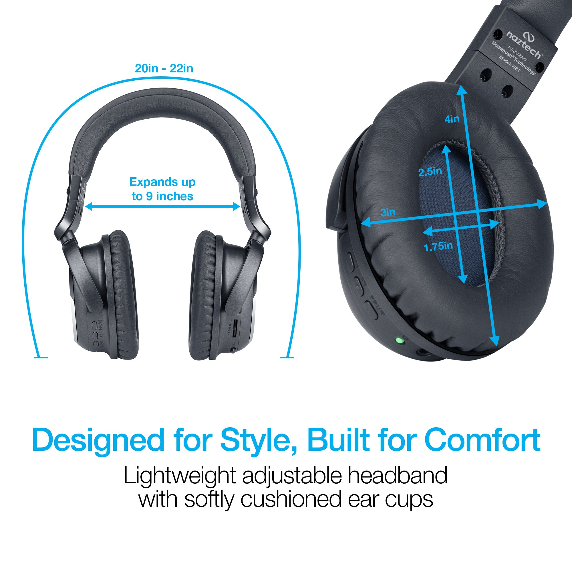 i9 Bluetooth® Active Noise Cancelling Headphones - Black