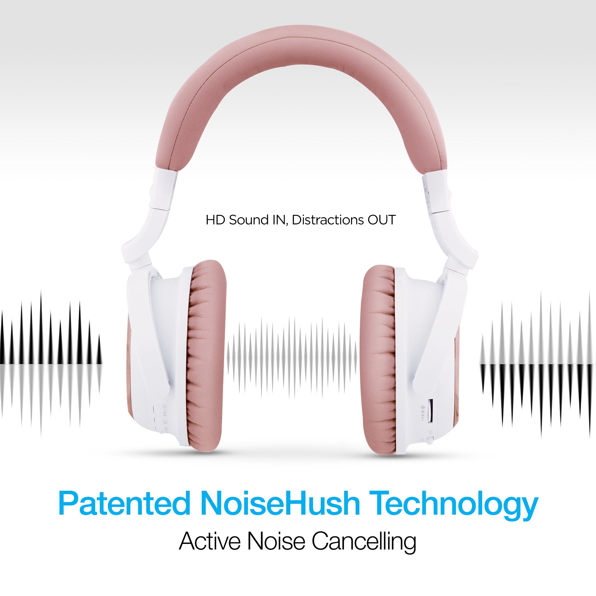 i9 Bluetooth® Active Noise Cancelling Headphones - Rose Pink