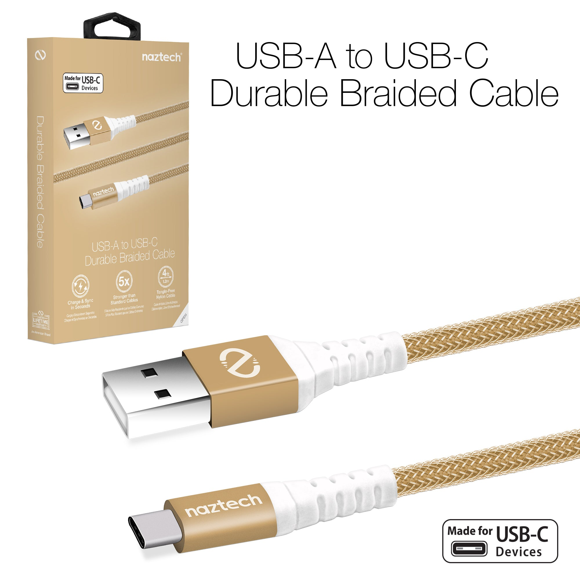 Braided USB-A to USB-C Charge & Sync Cable