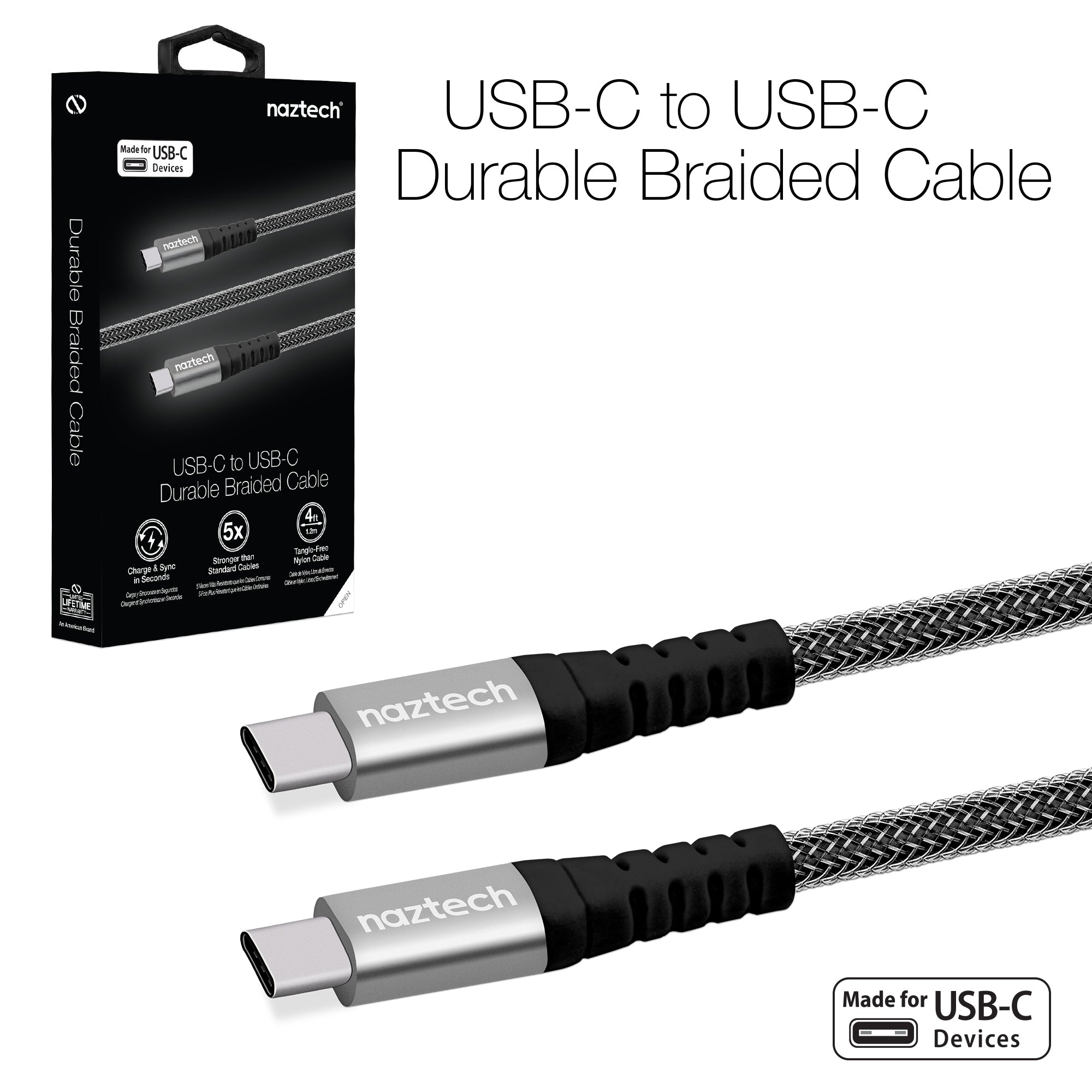 Braided USB-C to USB-C Charge & Sync Cable