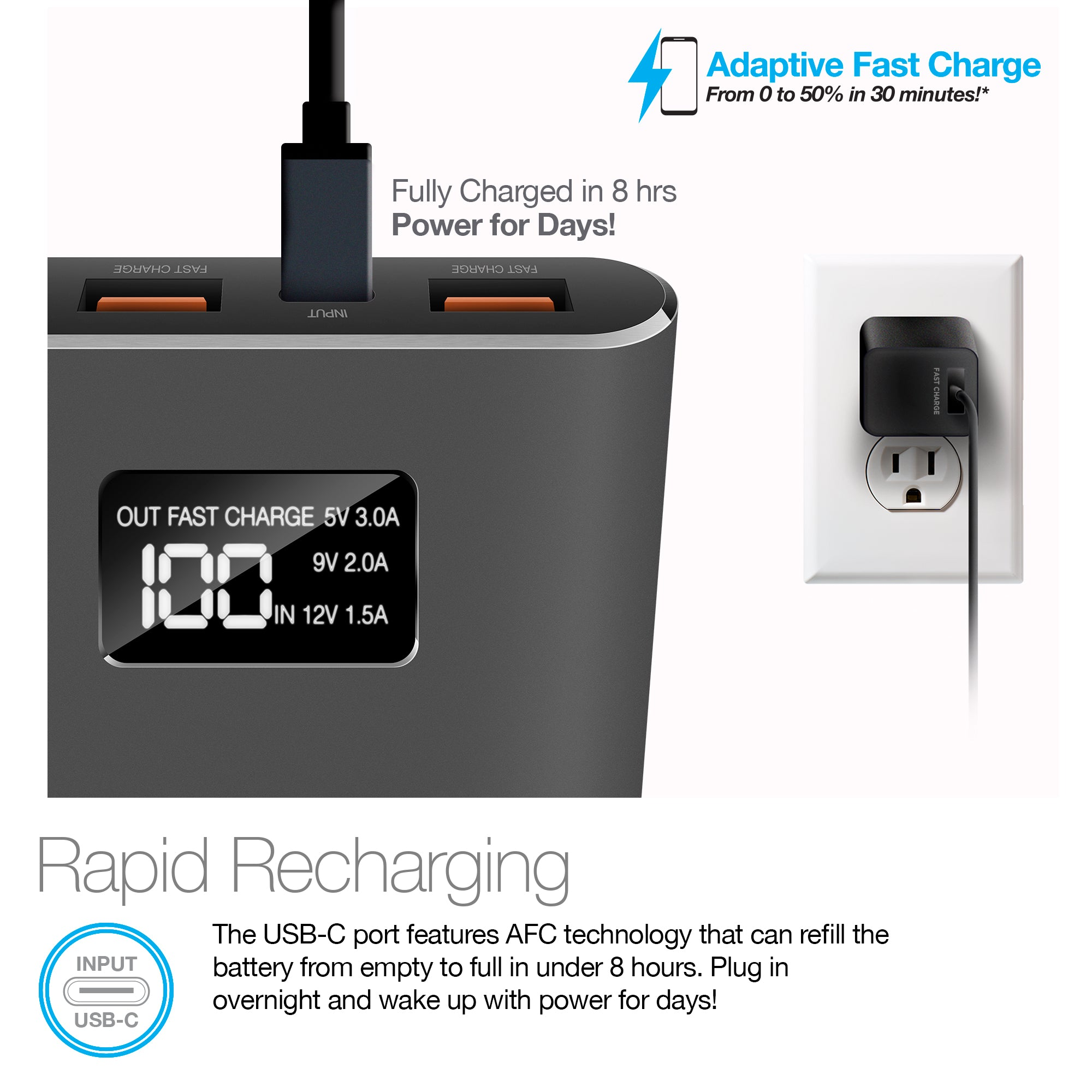 Rev Portable Battery with LCD Digital Display