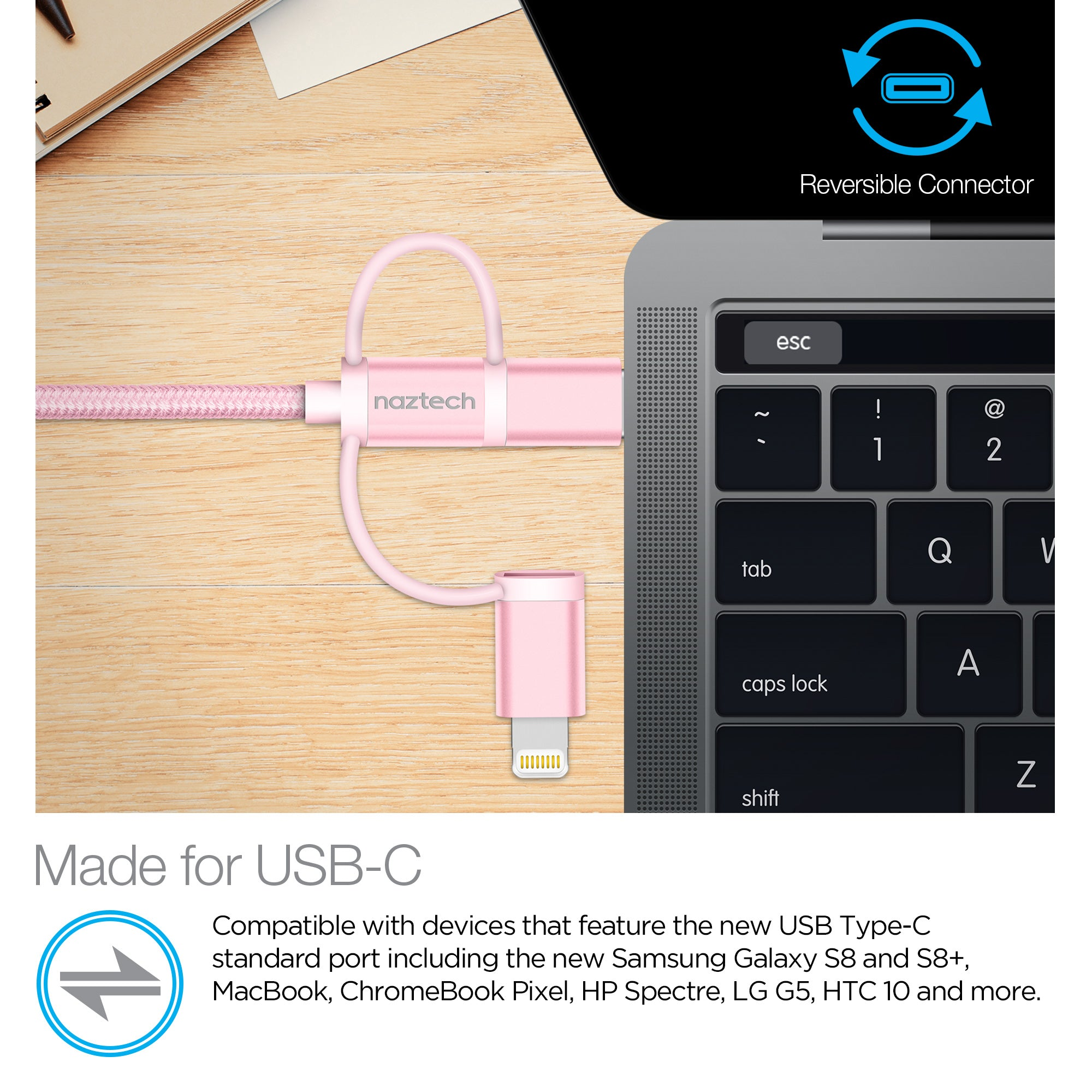 Braided 3-in-1 Hybrid USB Cable