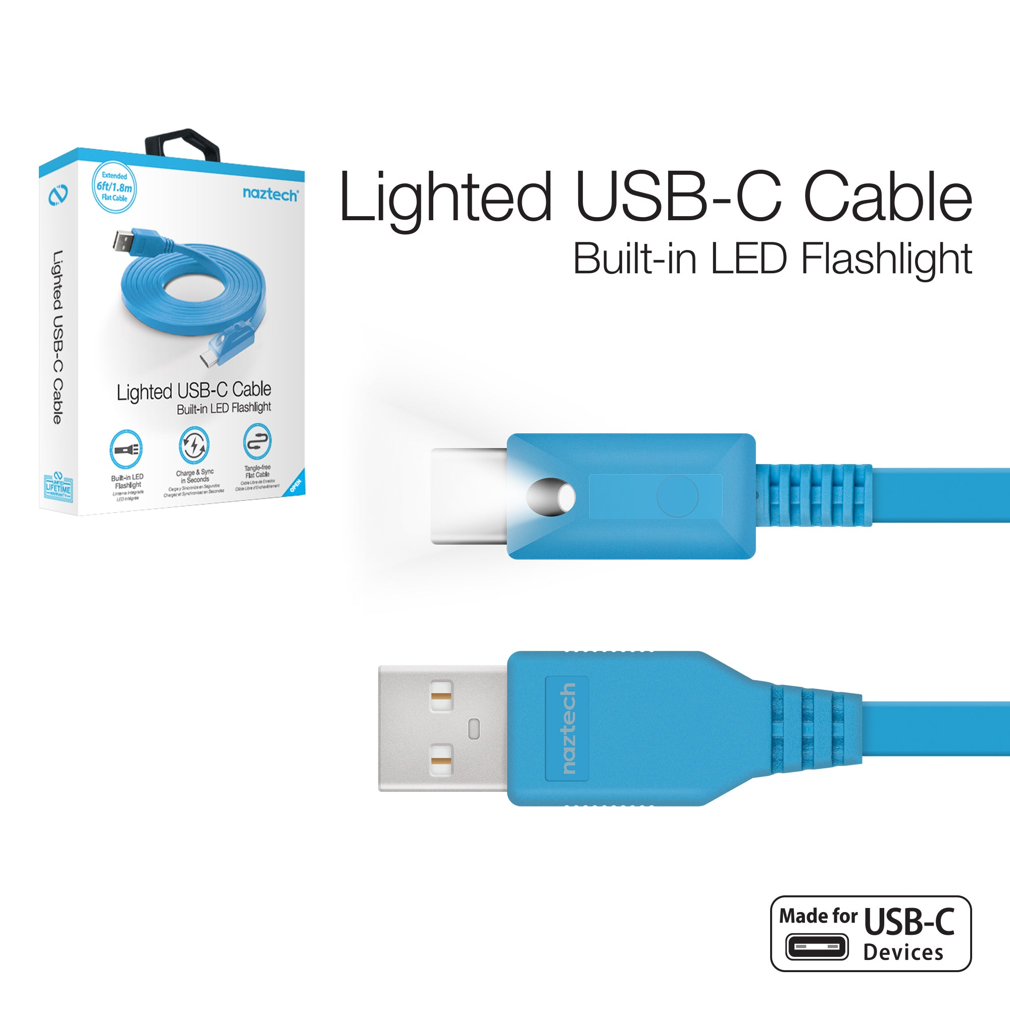 Lighted USB-C Charge & Sync Cable with Push Button Control