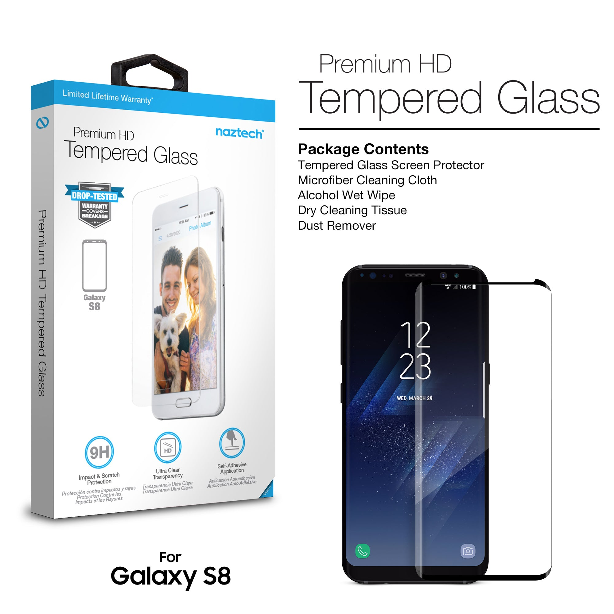 Premium HD Tempered Glass Screen Protector for Galaxy S8