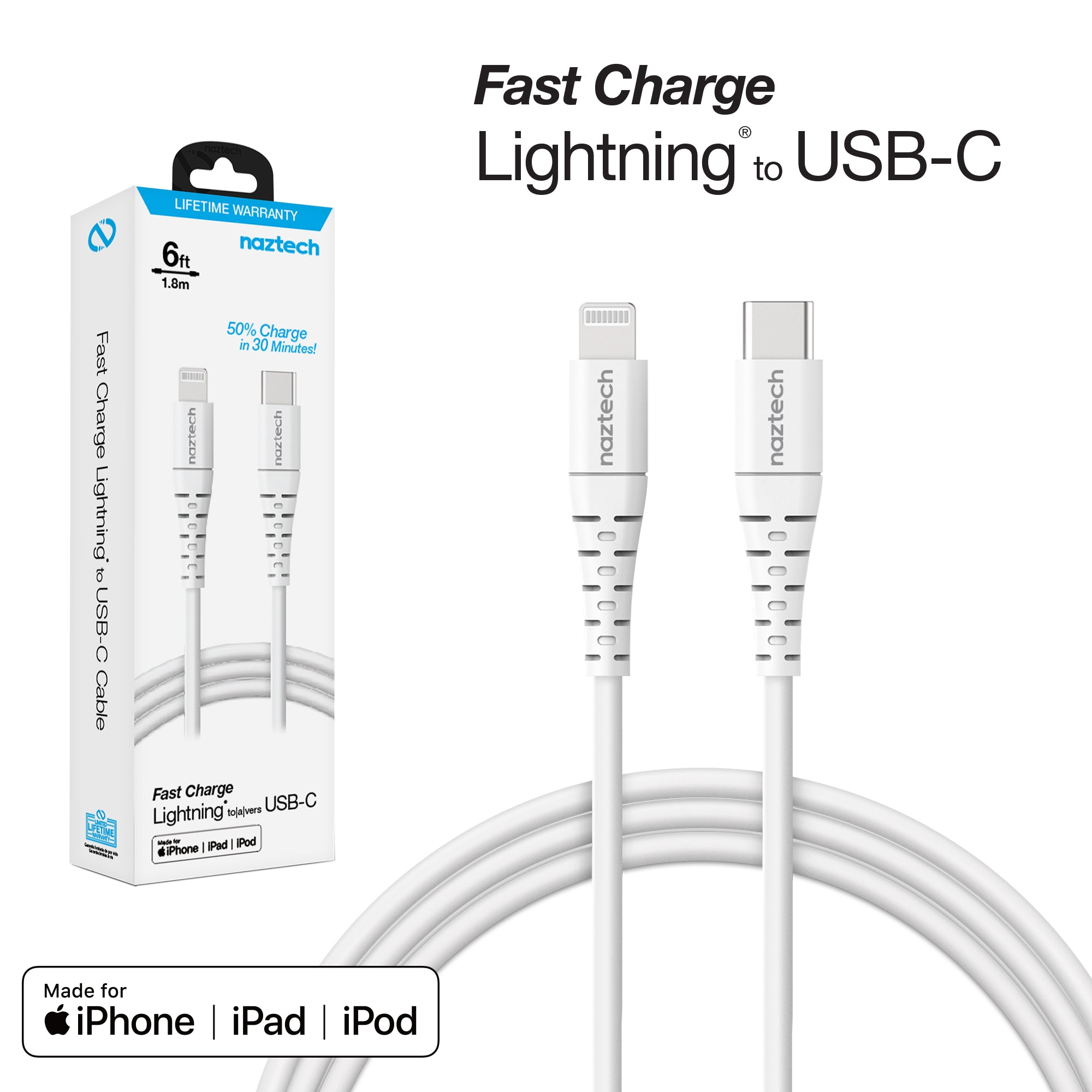 Fast Charge MFi Lightning to USB-C Cable - 6ft