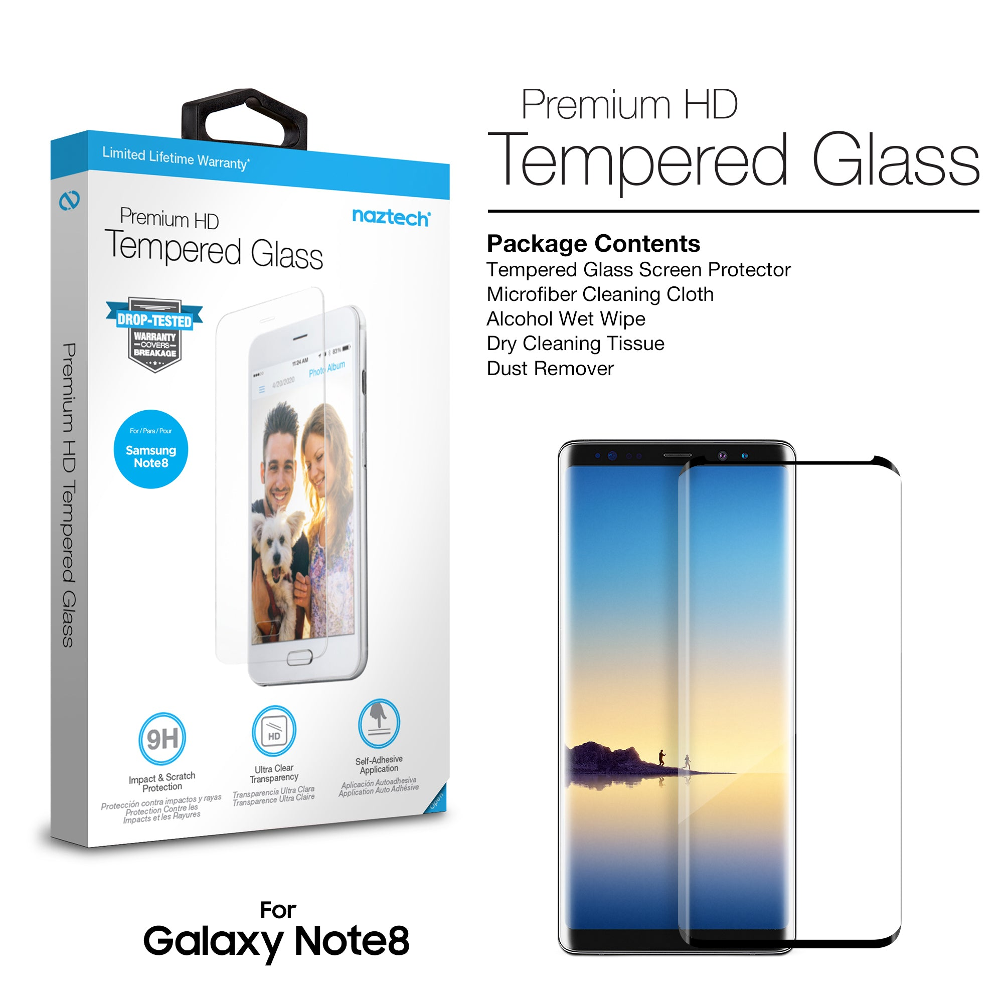 Premium HD Tempered Glass Screen Protector for Galaxy Note8