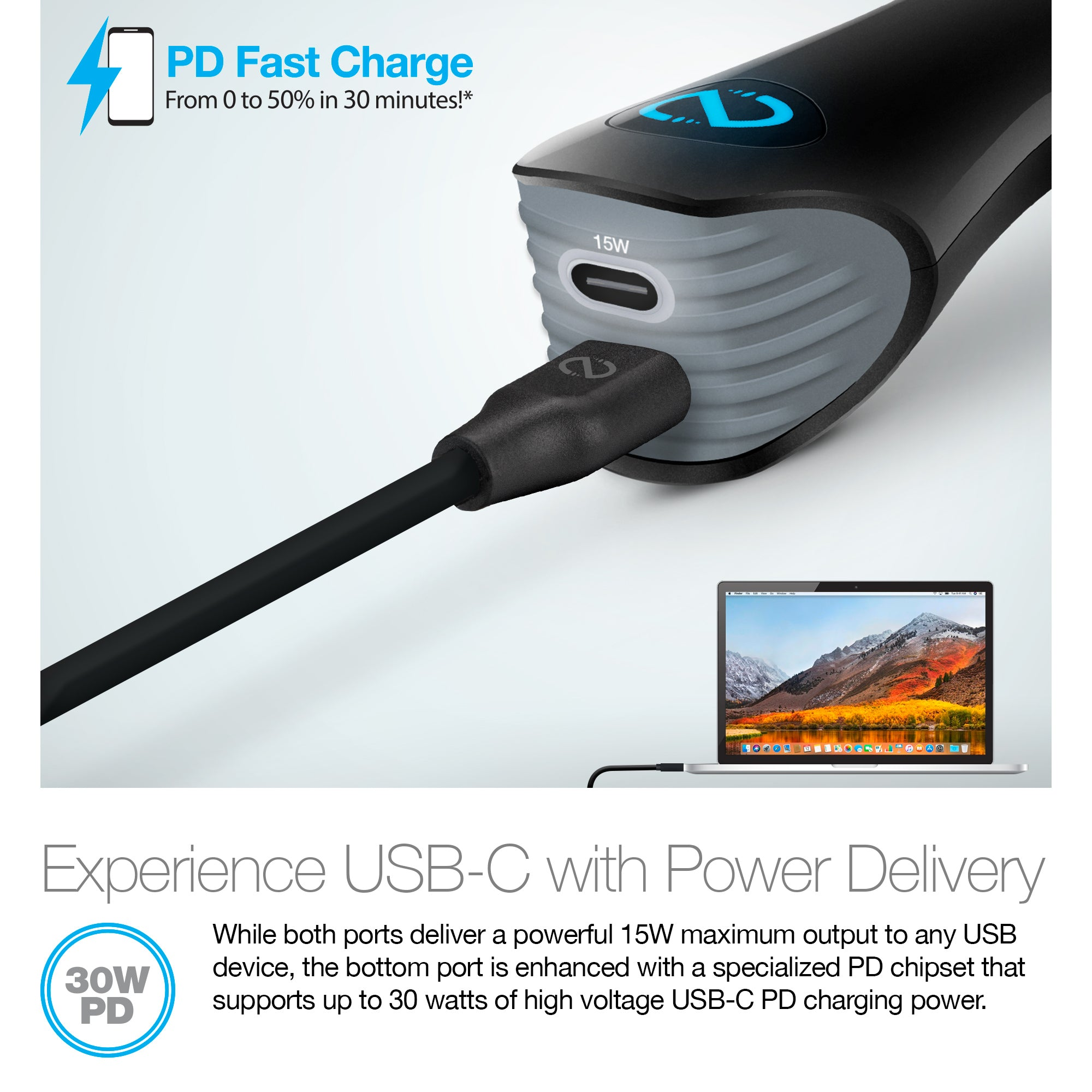 30W Turbo Power Delivery + USB-C Car Charger