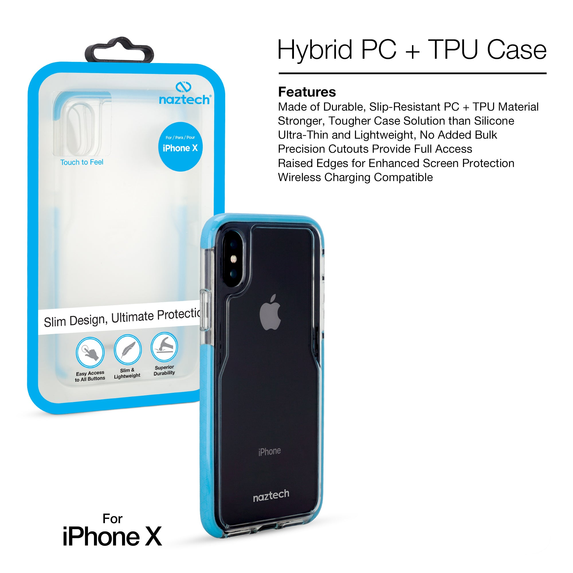 Hybrid PC + TPU Case For iPhone XS / X