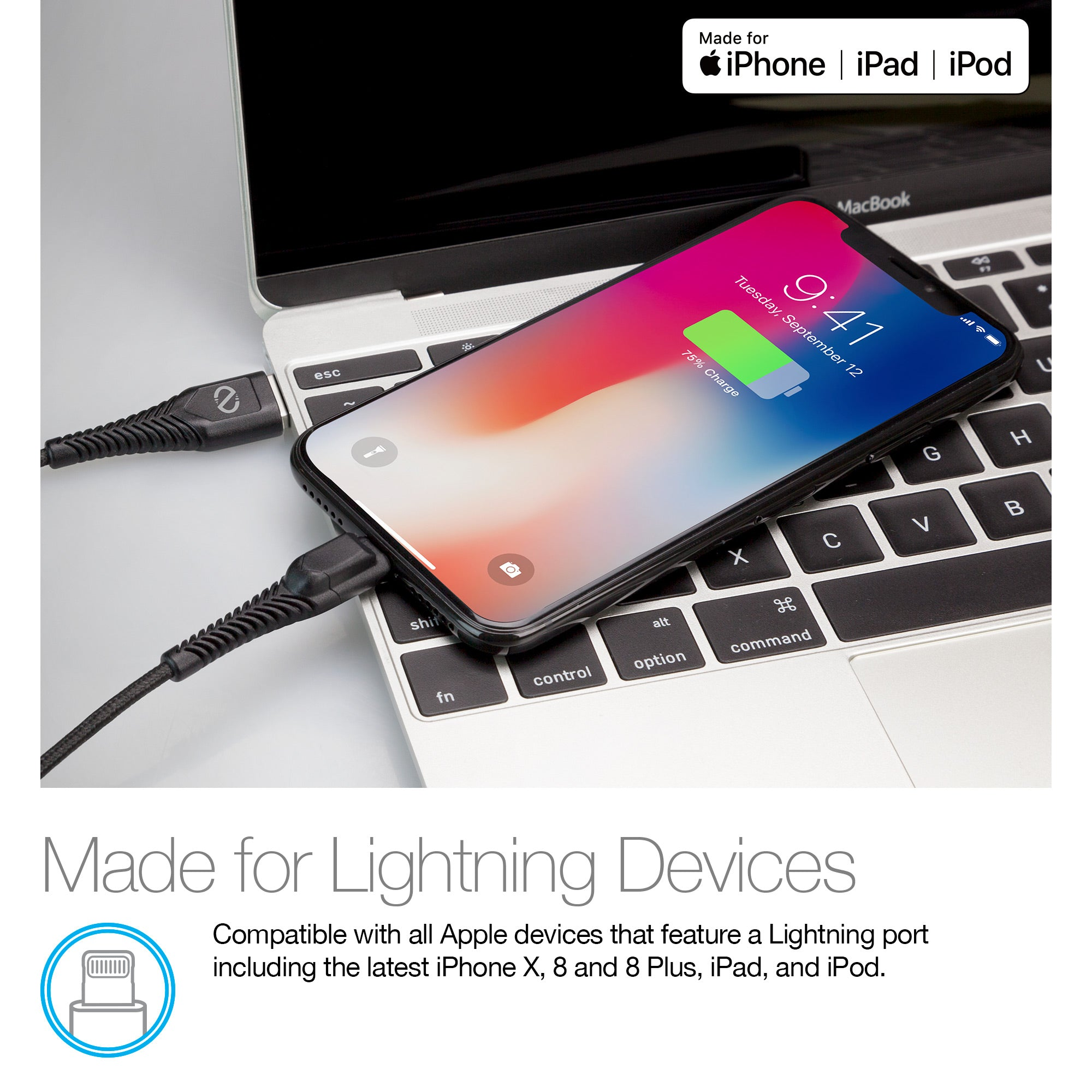 Rugged LED MFi Lightning Charge & Sync Cable