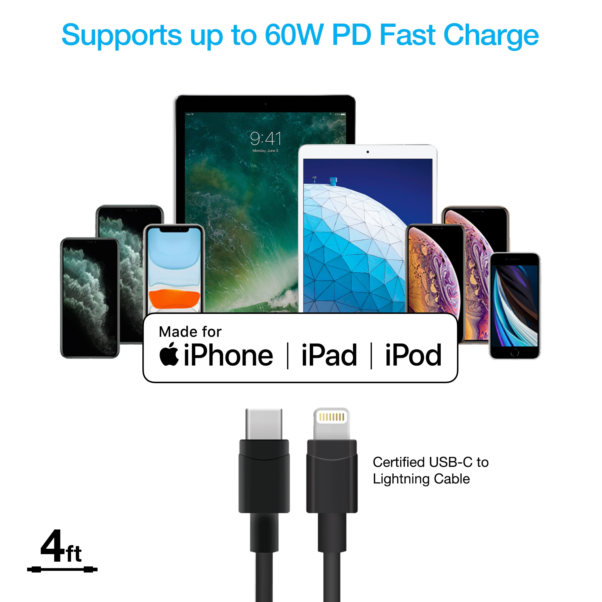 Dual 18W PD Fast Car Charger + USB-C to Lightning Cable