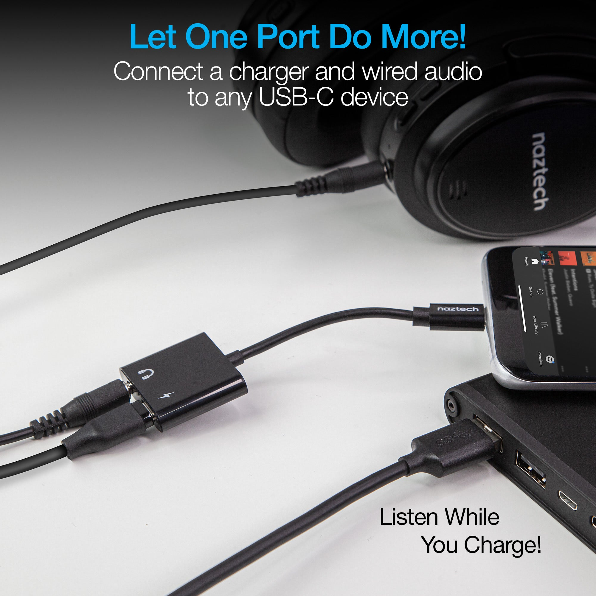 USB-C & 3.5mm Audio + Charge Adapter