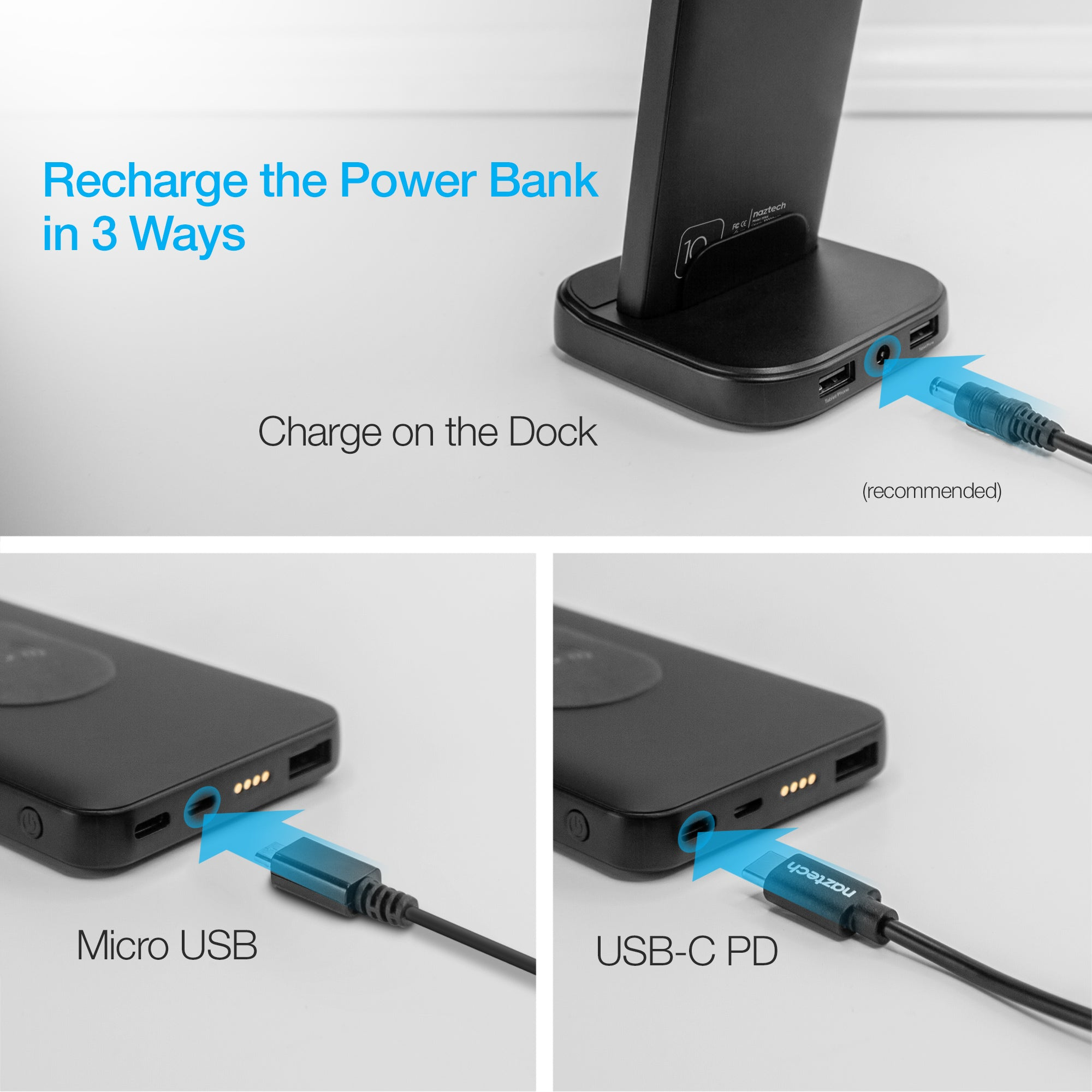 Core 2-in-1 Charging Dock + 10,000mAh Wireless Power Bank