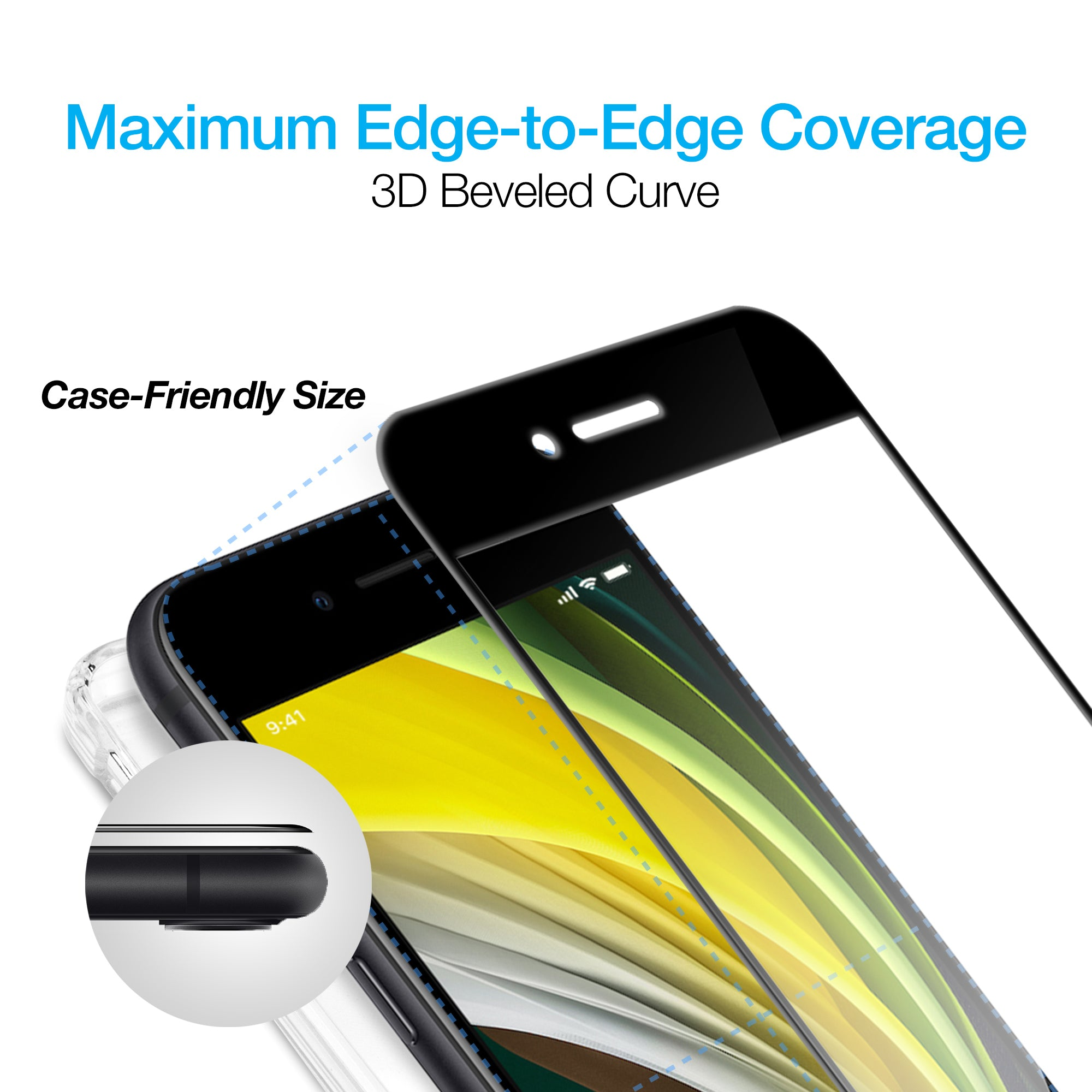IntelliShield HD Tempered Glass with 3D Edge for new iPhone SE