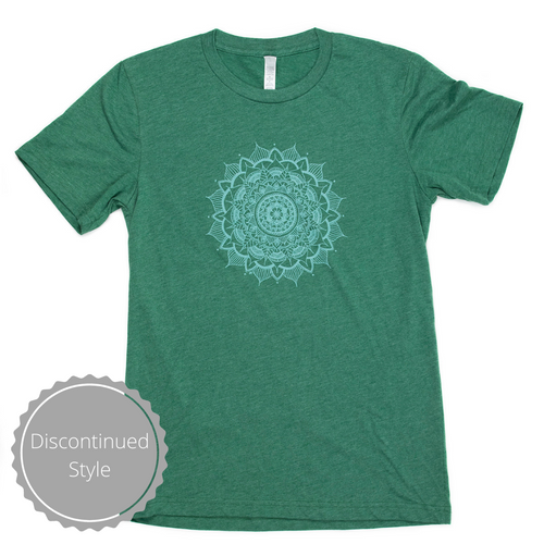 Unisex Mandala T-Shirt Green Crew T-Shirt (provides 12 meals)