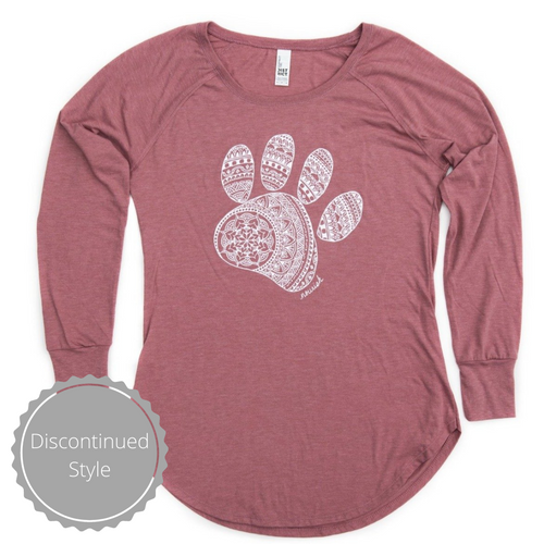 Women's Mandala Paw Long Sleeve Tunic Tee (provides 14 meals)