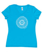 Load image into Gallery viewer, Women's Aqua Daisy V-neck Tee (provides 12 meals)