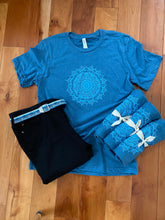 Load image into Gallery viewer, Unisex Mandala T-Shirt Blue Crew T-Shirt (provides 12 meals)