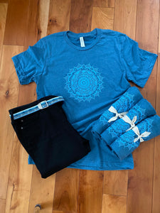 Unisex Mandala T-Shirt Blue Crew T-Shirt (provides 12 meals)