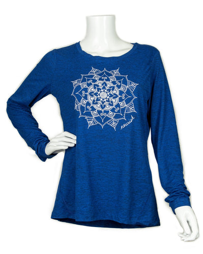 Women's Blue Mandala Long-sleeved Athletic Crew (provides 16 meals for kids)