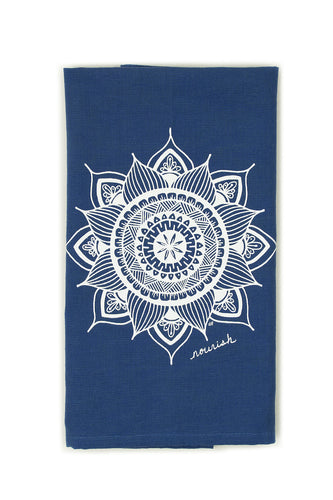 Blue Sunflower Mandala Kitchen Towel (provides 6 meals)