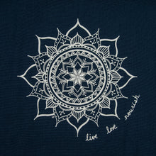 "Load image into Gallery viewer, Navy ""live, love, nourish"" Mandala Kitchen Towel (provides 6 meals)"