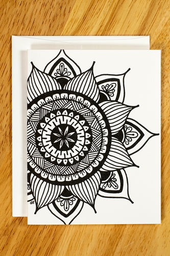 Sunflower Mandala Note Card Set (provides 6 meals)