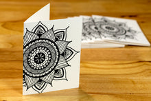 Load image into Gallery viewer, Sunflower Mandala Note Card Set (provides 6 meals)