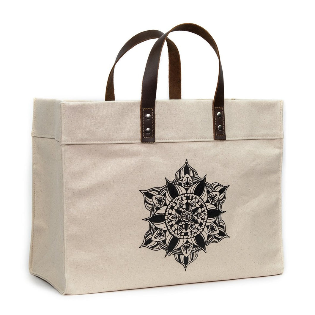 mandala tote bag with leather handles, nourish designs