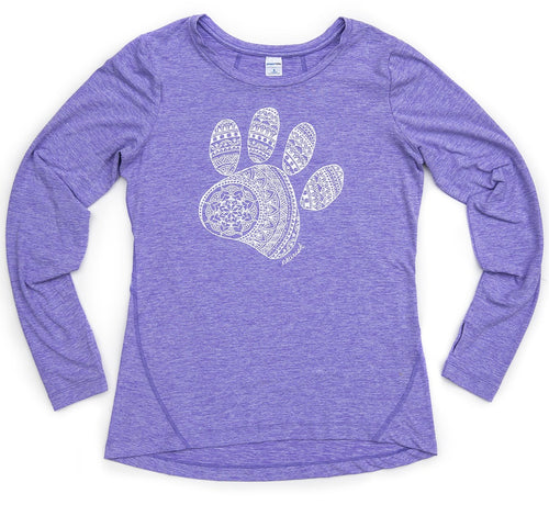 Women's Mandala Paw Long-sleeved Athletic Crew (provides 16 meals for kids)
