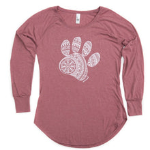Load image into Gallery viewer, Women's Mandala Paw Long Sleeve Tunic Tee (provides 14 meals)
