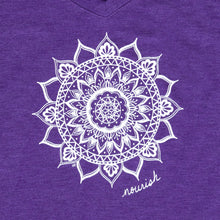Load image into Gallery viewer, Women's Purple V-neck Tee (provides 12 meals)