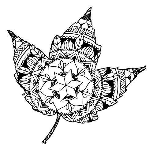 Free Maple Leaf Mandala Downloadable Coloring Page