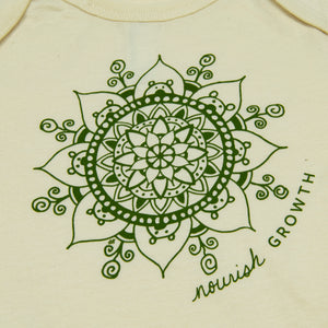 Peek-a-Boo Bear Mandala Onesie - Natural (provides 6 meals)