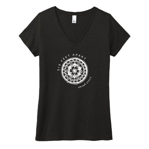 Nourish Space Women's Black V-neck Tee (provides 12 meals) PRE-ORDER