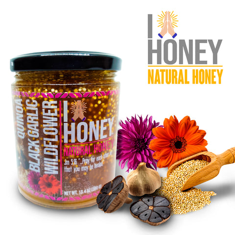 I Bless Honey | Miel de Abeja 100% Pura de Multiflora, Ajo Negro y Quinoa | 380 g - HONEY BLOSSOM MEX