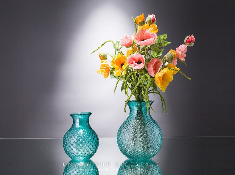 Home decoration round shape spot designed flower glass vase - GIFT4U