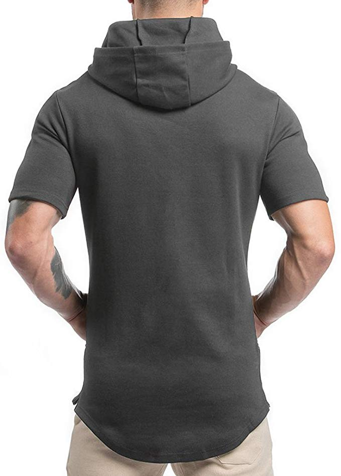 Men Hipster Hip Hop Workout  Quick-Dry Short Sleeve Gym Hoodies with Kanga Pocket - GIFT4U