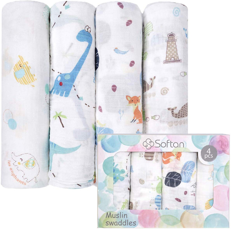 "Baby 100% Muslin Bamboo Cotton Swaddle Blankets, 47""*47""(4 Pack) Elephant, Fox, Whale, Dinosaur gift for newborn"