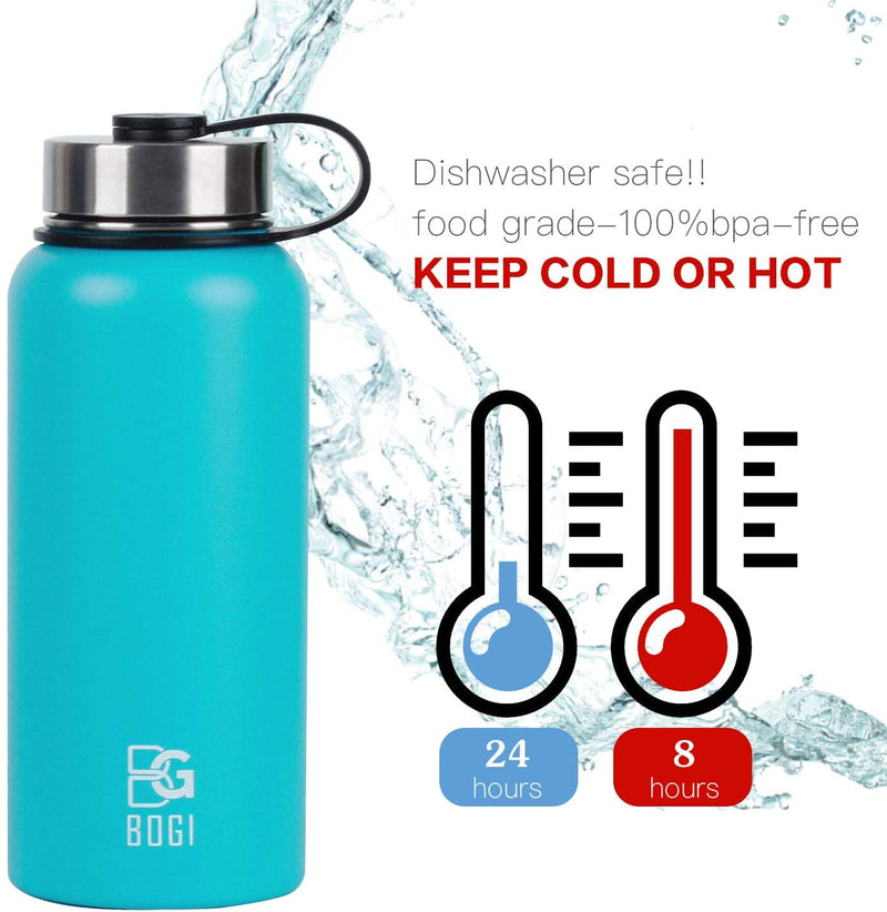 BOGI 32oz Insulated Water Bottle Double Wall Vacuum Stainless Steel Bottle -Sports Travel Thermos Flask Cup Keep Hot or Cold for Outdoor Fitness Camping Cycling with BPA Free Straw Lid+Cleaning Brush
