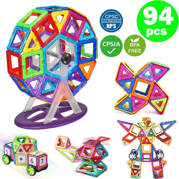 Magnetic Construction Set With Storage Box (94 Pcs) building block toy gift