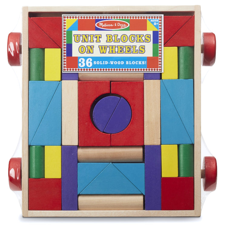 Melissa & Doug: drewniany wózek z klockami Unit Blocks On Wheels
